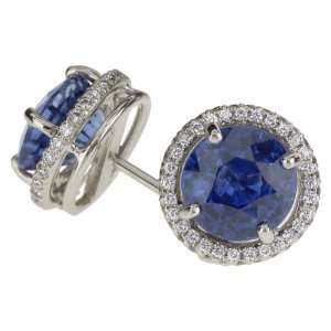 18k White Gold Sapphire and Diamond Earrings (7.23 cttw sapphire and 0