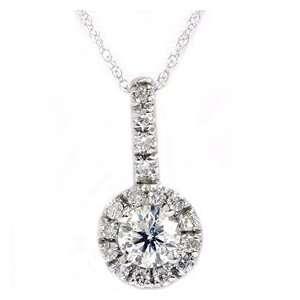 83CT VS/SI Pave Diamond Solitaire Halo 14K White Gold Pendant Jewelry