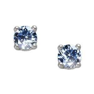 Brilliant Cut 14K White Gold Stud Earrings with Blue Diamond 1/2 carat