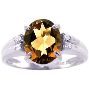 Oval Gemstone and Diamond Ring Smoky Quartz, size6.5 diViene Jewelry