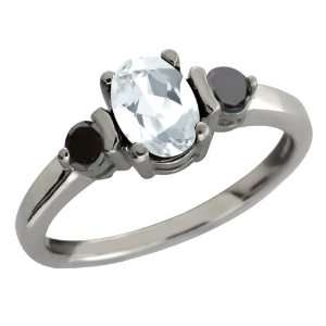90 Ct Oval White Mystic Quartz and Black Diamond Sterling Silver Ring