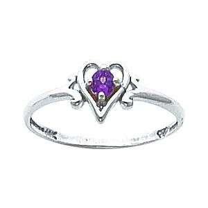 14K White Gold Lab Created Alexandrite Heart Ring Jewelry