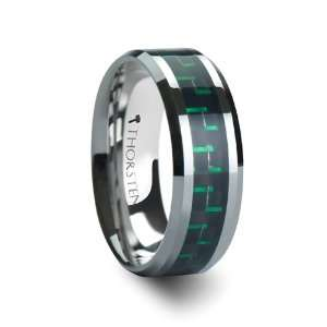Wedding Band with Black & Green Carbon Fiber Inlay   FREE Engraving