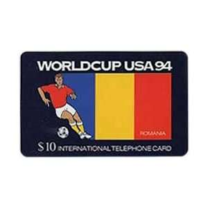 Collectible Phone Card $10. World Cup USA 94 Soccer   Romania Flag