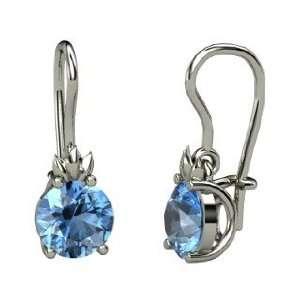 Gem Flame Earrings, Round Blue Topaz Platinum Earrings