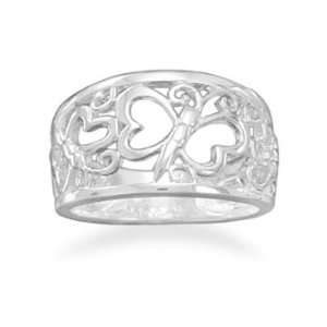 Sterling Silver Cut Out Butterfly Ring Measures 11mm Wide