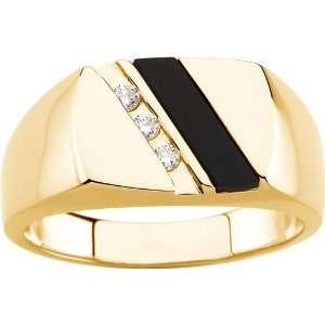 yellow gold Genuine Onyx & Diamond Ring Diamond Designs Jewelry