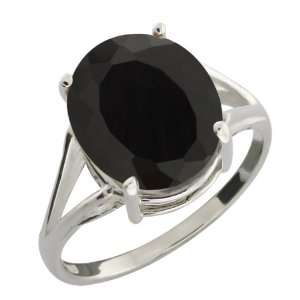 4.10 Ct Oval Black Onyx 18k White Gold Ring Jewelry