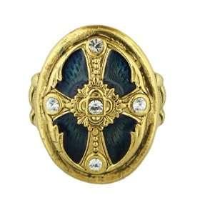 Ornate Blue Enamel Cross Stretch Ring Jewelry