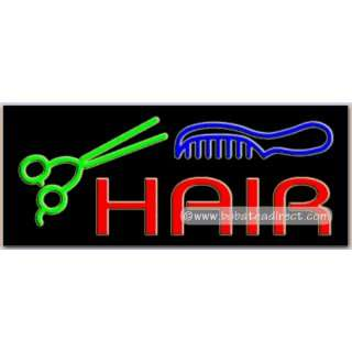 Hair (scissor, comb) Neon Sign (13H x 32L x 3D):