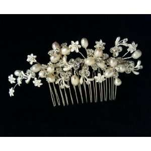 Side Comb Rhinestones Romantic Flower Freshwater Pearls Wedding Hair