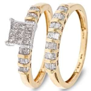 Baguette Cut Diamond Ladies Bridal Wedding Ring Set 10K Yellow Gold