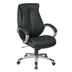 Office Star Executive Black Eco Leather Chair with Locking Tilt