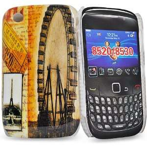 and eiffel tower mix design Hybrid back cover Case for Blackberry 8520