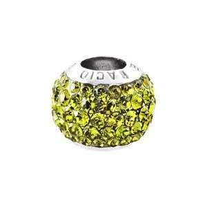 Bacio Italian Bead Plain Italy Swarovski Crystal Moss Green Charm