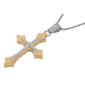 & Stainless Steel Mens Large Cross Pendant with 24 Inch Ball Chain