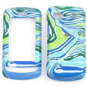 LG Xenon GR500 Blue/Green Zebra Print Hard Case/Cover