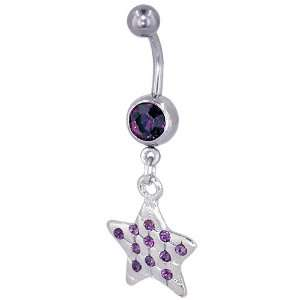 Ring Purple Crystal Star Dangle February Belly Navel Ring Body Jewelry
