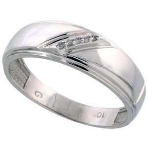 10k White Gold Mens Diamond Wedding Band Ring 0.03 cttw Brilliant Cut
