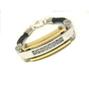 Gold Plated Black Leather Mens Bracelet 8 CZ Contemporary Stylish