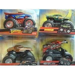 Monster Jam 4 Popular Trucks Superman, Monster Mutt, Avenger & Iron