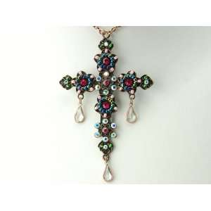 Crystal Rhinestone Beaded Holy Cross Tear Drops Necklace Pendant