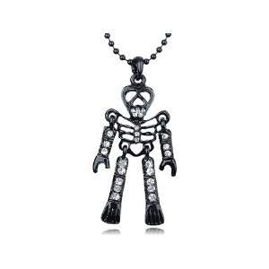 Alloy Clear Crystal Rhinestone Skeleton Body Necklace Pendant Jewelry