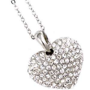 Small Silver Tone Clear Crystal Pave Heart Charm Pendant Necklace