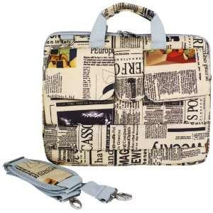 14 inch Newspaper Pattern Laptop Carry Case / Shoulder Messenger Bag