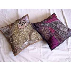 2 INDIAN SARI TOSS THROW PILLOWS HOME LIVING ROOM DECOR