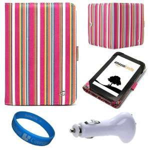 Pink Candy Colored Stripes Canvas Portfolio Protective Carrying Case