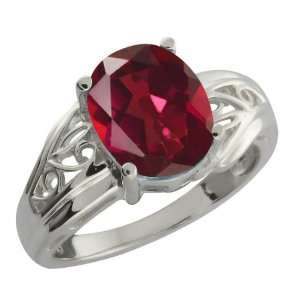 50 Ct Ruby Red Oval Mystic Quartz and Argentium Silver Ring Jewelry