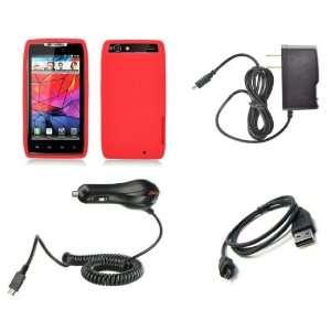 DROID RAZR (Verizon) Premium Combo Pack   Red Silicone Soft Skin