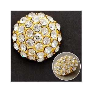 18mm Rhinestone Dome Button with Shank, Crystal/Gold by