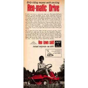 : 1966 Ad Reo matic Lawn Skiff Vintage Riding Lawn Care Rotary Mower
