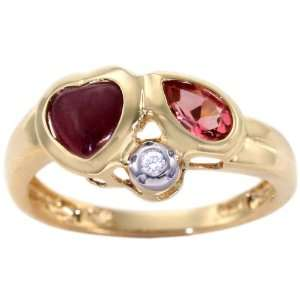 14K Yellow Gold Heart and Pear Gemstone Ring Multi Ruby