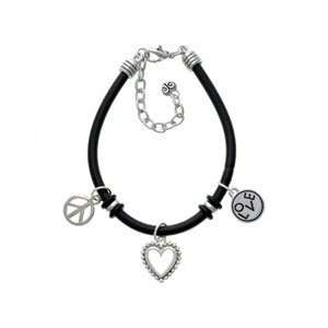 in Round Disc   Black Peace Love Charm Bracelet [Jewelry] Jewelry