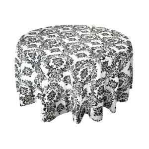 90 Black Damask Flocked Table Top Round Tablecloths