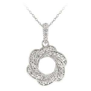 Sterling Silver Cubic Zirconia Swirled Circle Pendant, 18 Jewelry