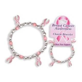 Breast Cancer Awareness Charm Bracelet   Pink Ribbon Toys