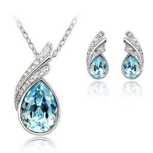 Aquamarine Blue Crystal Pendant & Earrings Set Used Swarovski Crystals