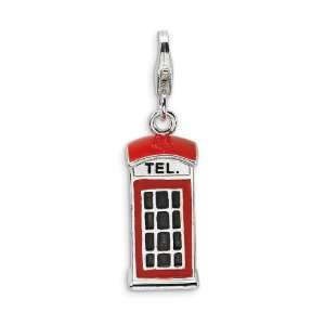 Sterling Silver 3D Red Enameled Telephone Booth Charm Jewelry
