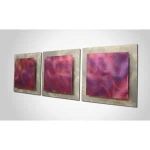 and Purple Painting on Metal Art Panel. Layered Design for Texture