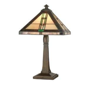Tiffany TT70674 Mission Table Lamp, Antique Brown and Art Glass Shade