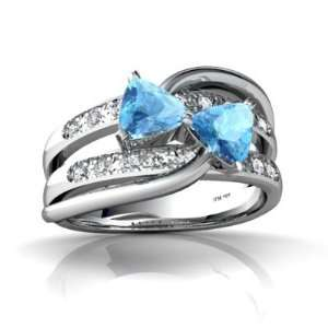 14K White Gold Trillion Genuine Blue Topaz Ring Size 4 Jewelry