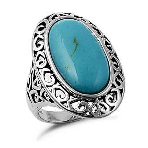 Sterling Silver Oval Turquoise Filigree Ring, 10 Jewelry