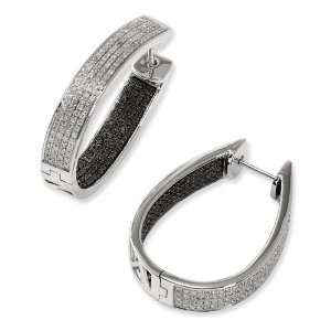 Sterling Silver Black & White Diamond In/Out Hoop Earrings Jewelry