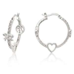 White Gold Bonded Hoop Earrings with Clear CZ Accents, Heart and Bow