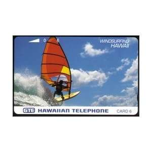Collectible Phone Card 6u Windsurfing Hawaii Blue Lettering on