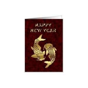 Happy New Year koi fish Chinese New Year Card Health